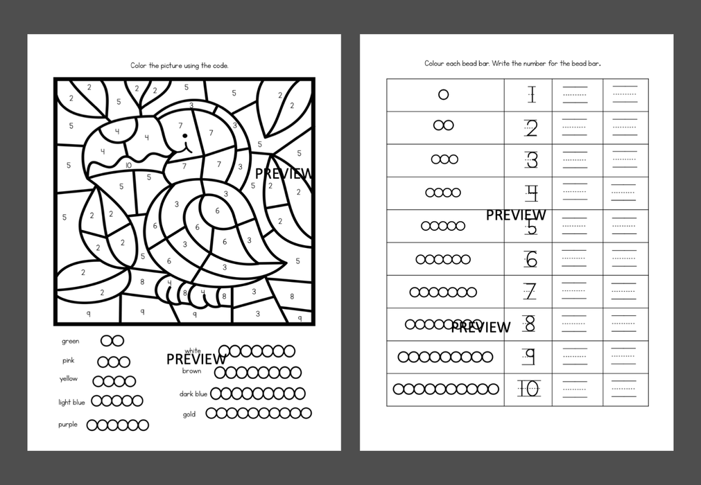 Colored bead stair worksheets - montessorikiwi