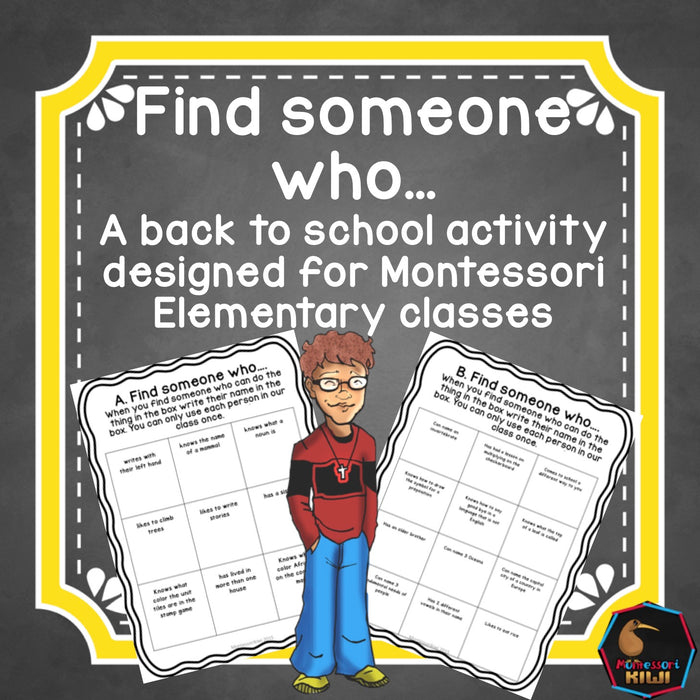 Montessori back to school - find someone who - montessorikiwi