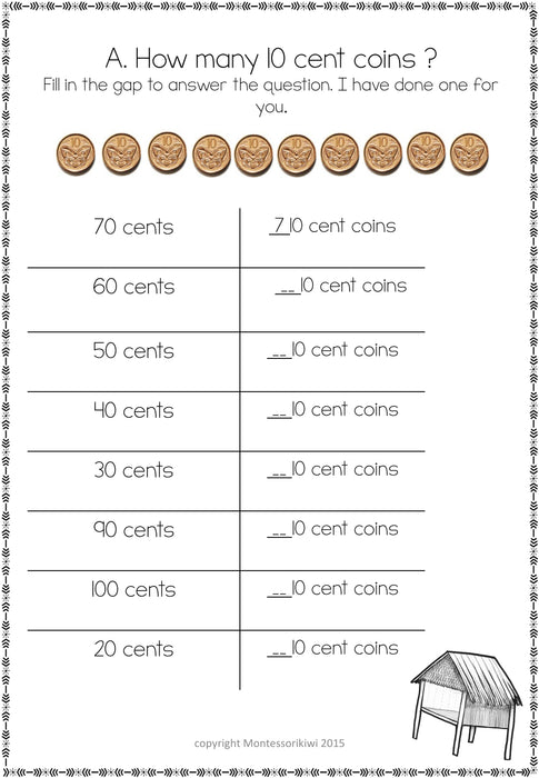 New Zealand Money Level 1:  How many 10 cent coins equal - montessorikiwi