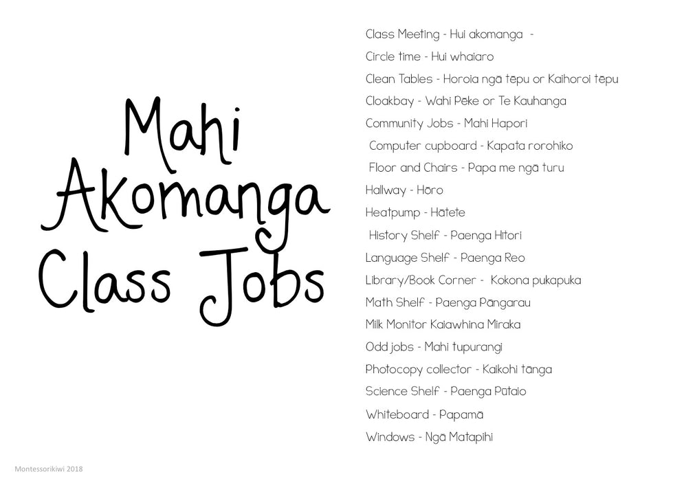 Class Jobs Māori and English - montessorikiwi