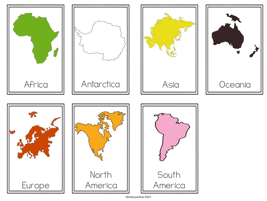 Continent Sorting activity - montessorikiwi