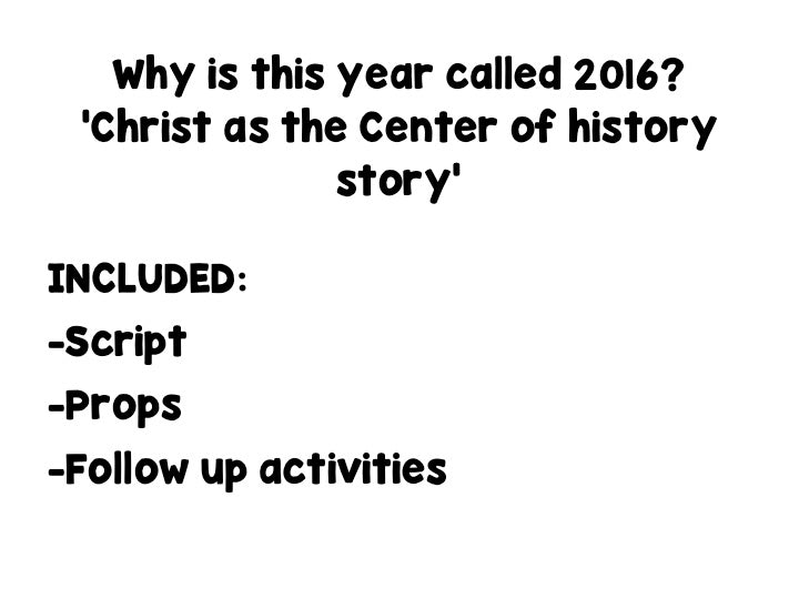 Christ as the Center of history Story - montessorikiwi