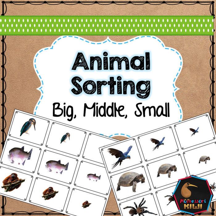 Animal themed math sorting - montessorikiwi