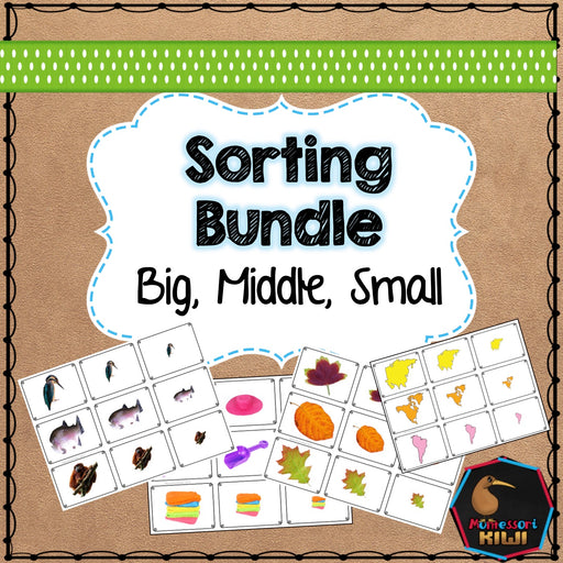 Big, middle, small themed math sorting bundle - montessorikiwi