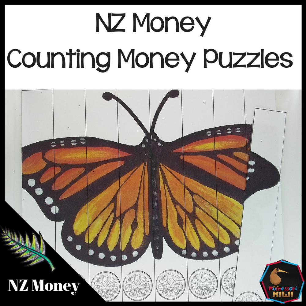 New Zealand Money level 1 counting puzzles - montessorikiwi