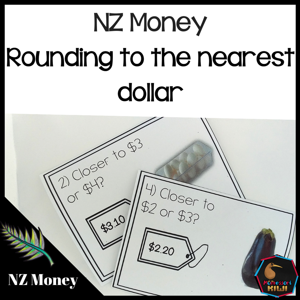 New Zealand Money Level 2: Rounding to nearest dollar task cards - montessorikiwi