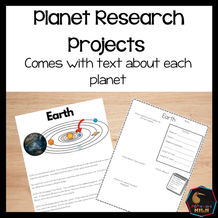 Planets Research Projects - Space - montessorikiwi