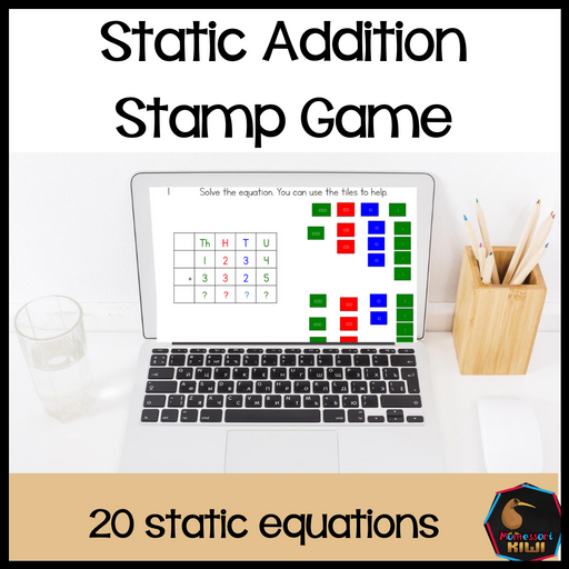 Static Addition Stamp Game Equation - Digital Version - montessorikiwi