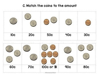 New Zealand Money level 1: matching amounts - montessorikiwi