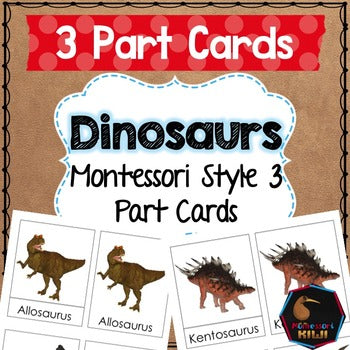 Dinosaur 3 part cards - montessorikiwi