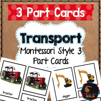 Transport 3 part cards - montessorikiwi