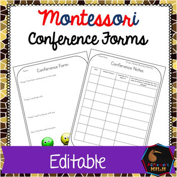 Montessori Conference Form (Editable)