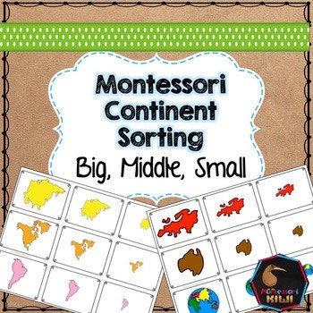 Continent themed math sorting - montessorikiwi