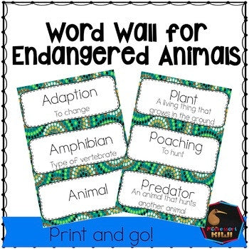 Endangered Animal Word Wall - montessorikiwi