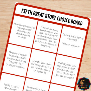 Fifth Great Story Choice Board - montessorikiwi