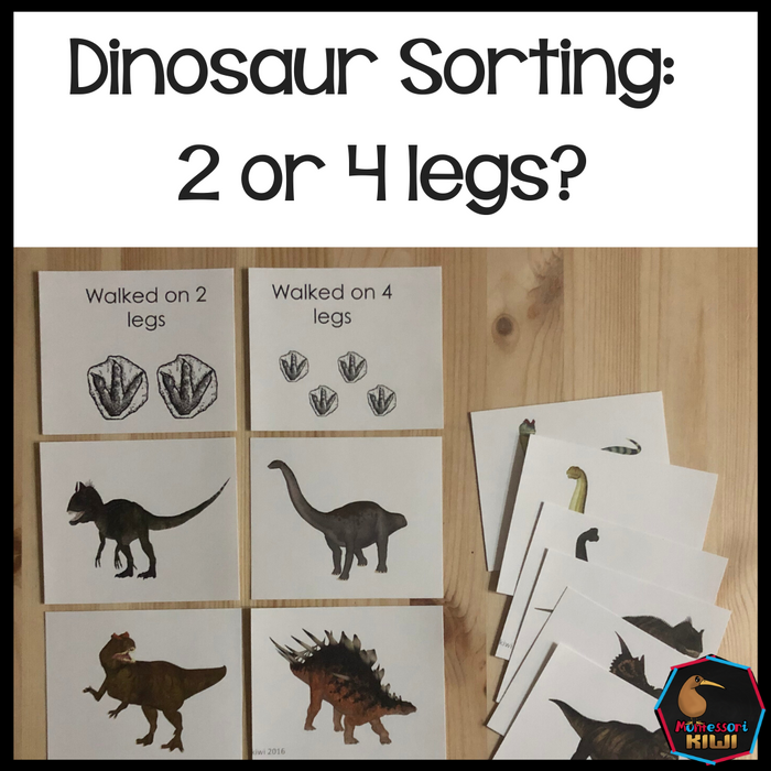 Dinosaur Sorting 2 legs or 4? - montessorikiwi