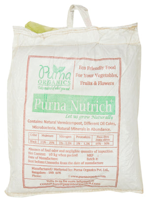 Purna Nutrich (Enriched Vermicompost) - 60 Kgs (Set of 6 Bags / 10 Kg Each).