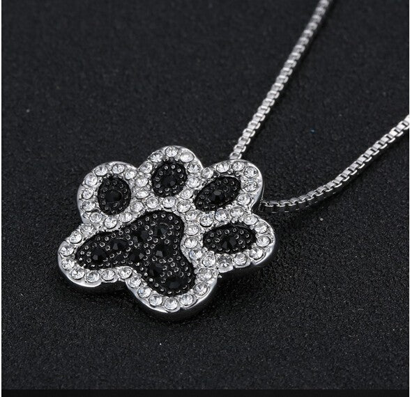 Crystal Dog Paw Necklaces -  Redsvill