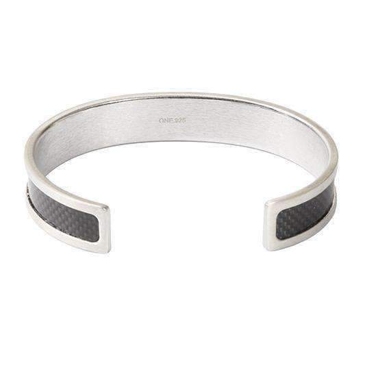 CARBON FIBRE SILVER & BLACK Silver Bangle - One Bond Street