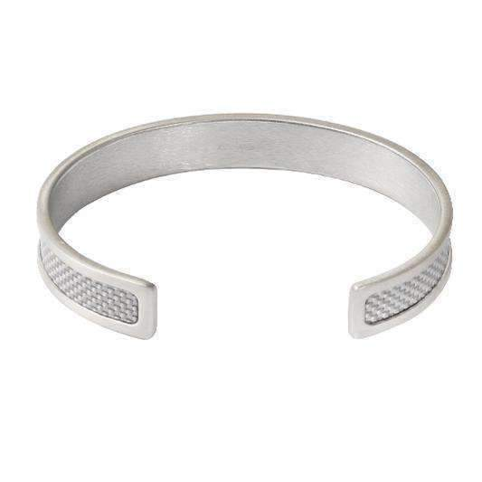 CARBON FIBRE SILVER & WHITE Silver Bangle - One Bond Street
