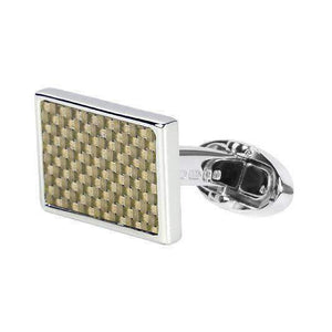 Sterling Silver Cufflink CARBON FIBRE - One Bond Street
