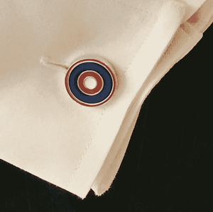 Sterling Silver Cufflink NAVY, RED & WHITE - One Bond Street
