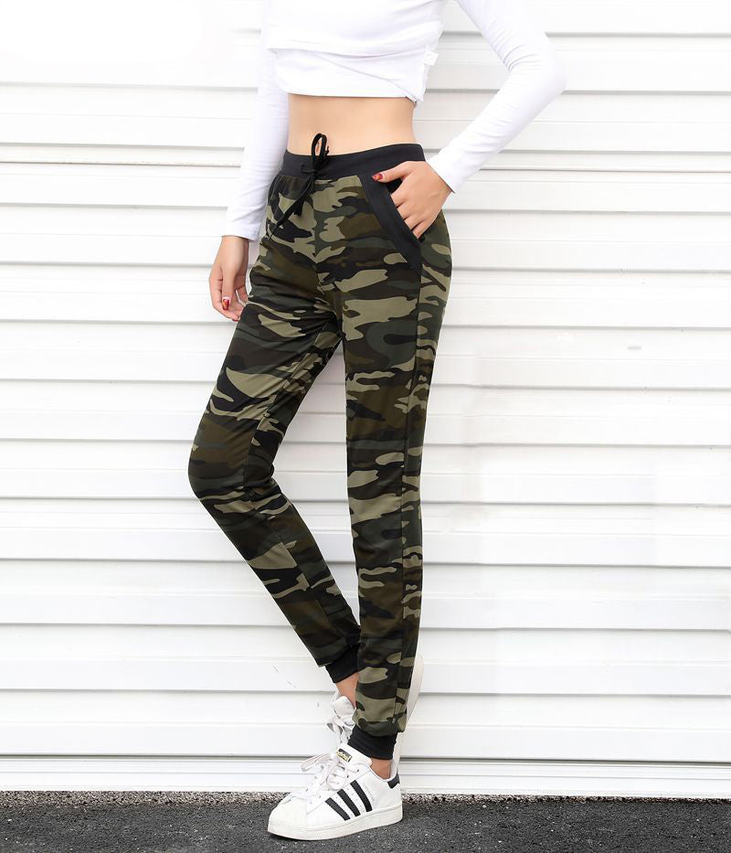 Drawstring Camouflage Jogger Pants with Pockets