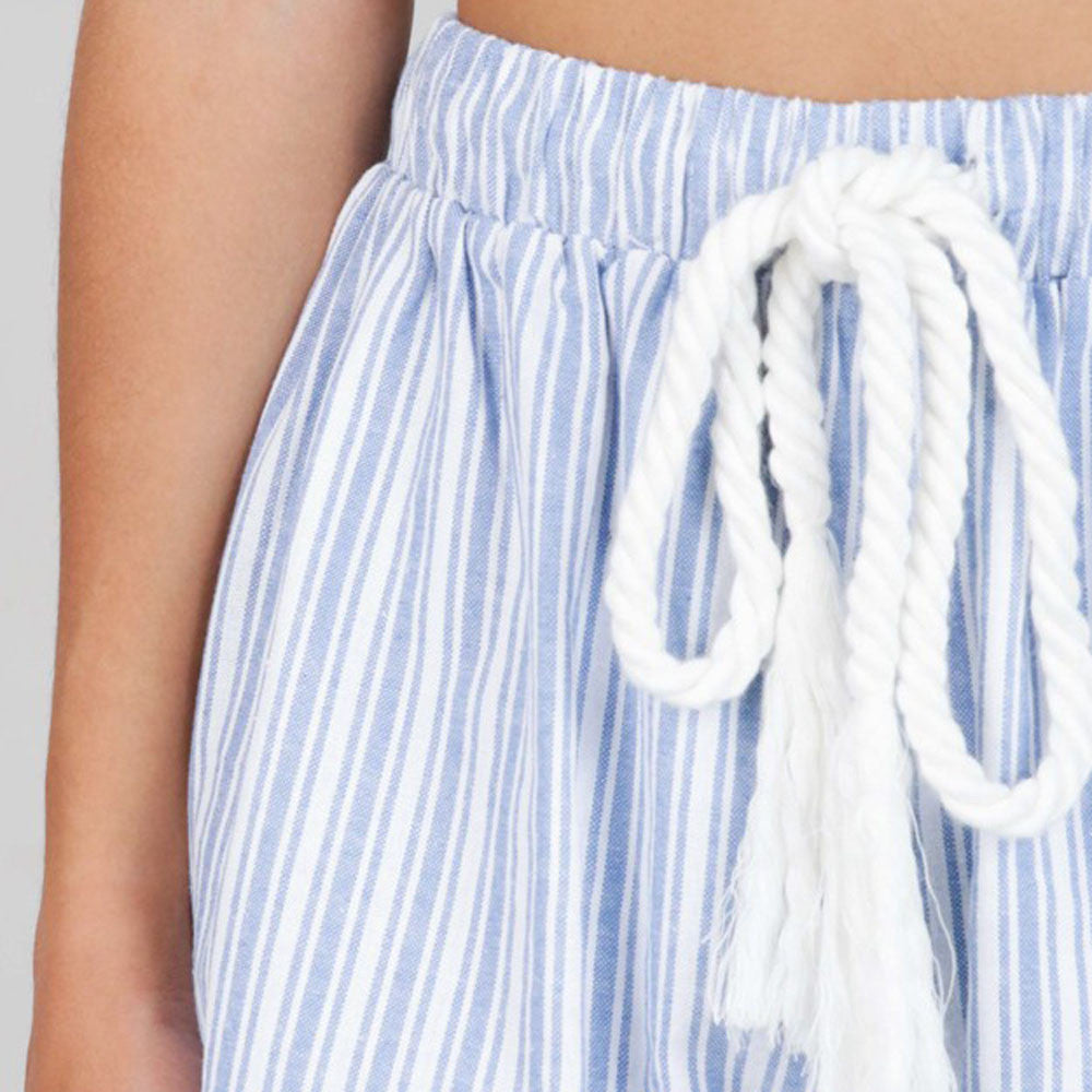 Women's Bohemian Drawstring Striped High Waist Shorts