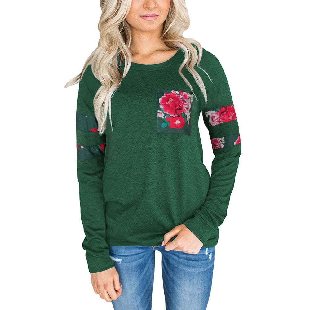 Women's Floral Pocket Sweater