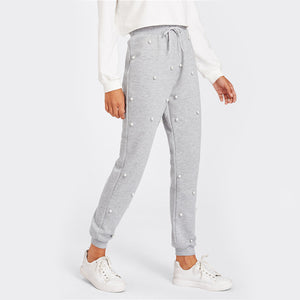 Women's Gray Dotted Sweatpants