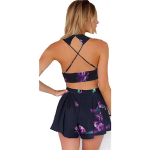 Women's Sleeveless Floral Printed Halter Top Two Piece Set