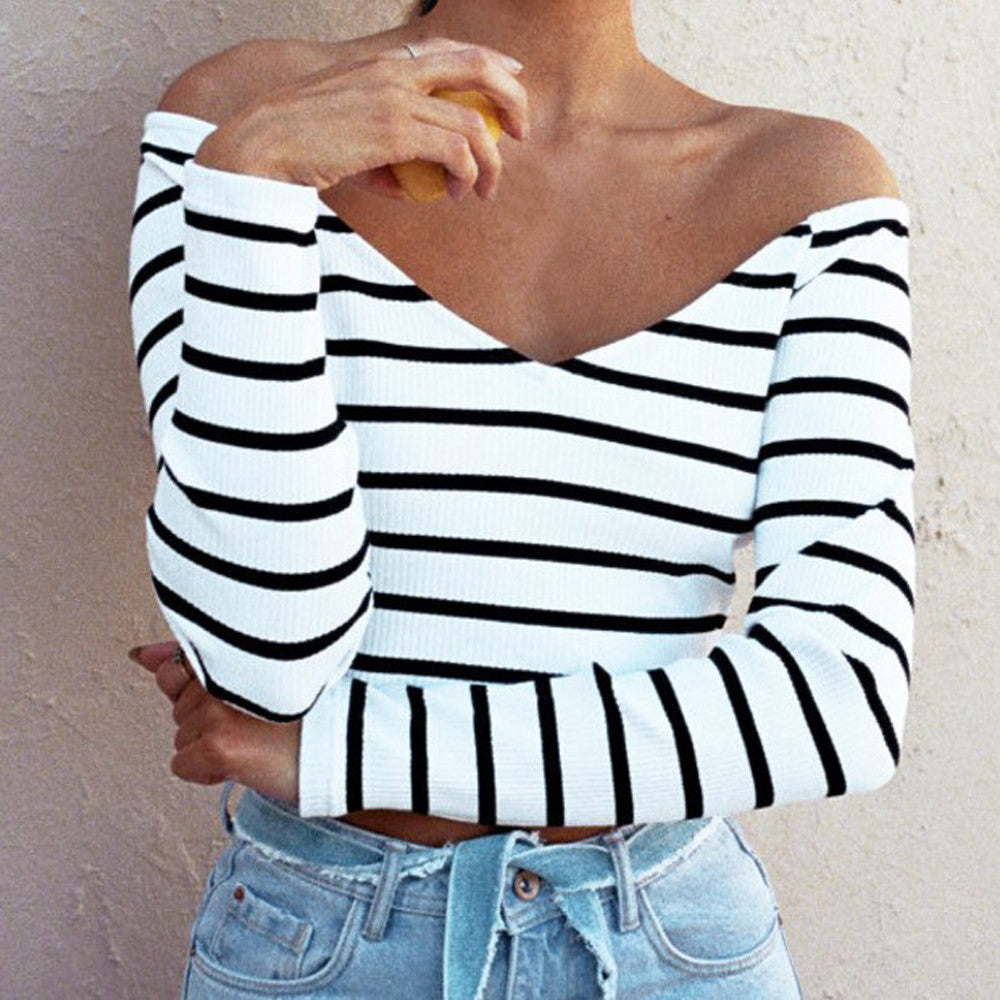 Womens Striped Off The Shoulder Crop Top