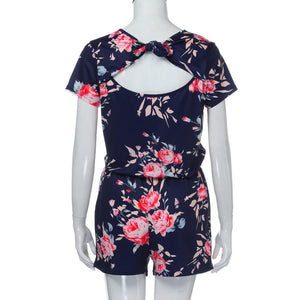 Women's Short Sleeve Floral Romper