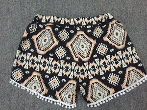 Women's High Waisted Tassel Printed Summer Shorts