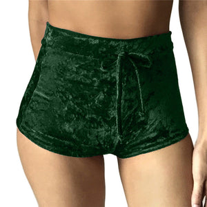 Women's High Waisted Velvet Shorts