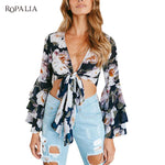 Women's Floral Printed Front Tie Blouse