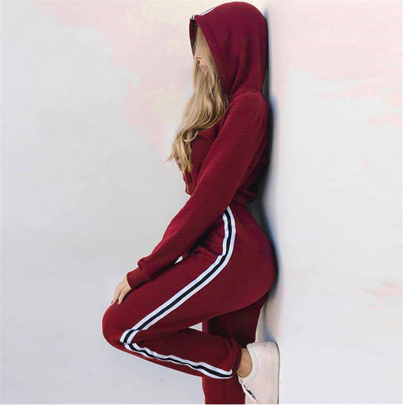 Women's Hooded Two Piece Tracksuit Set
