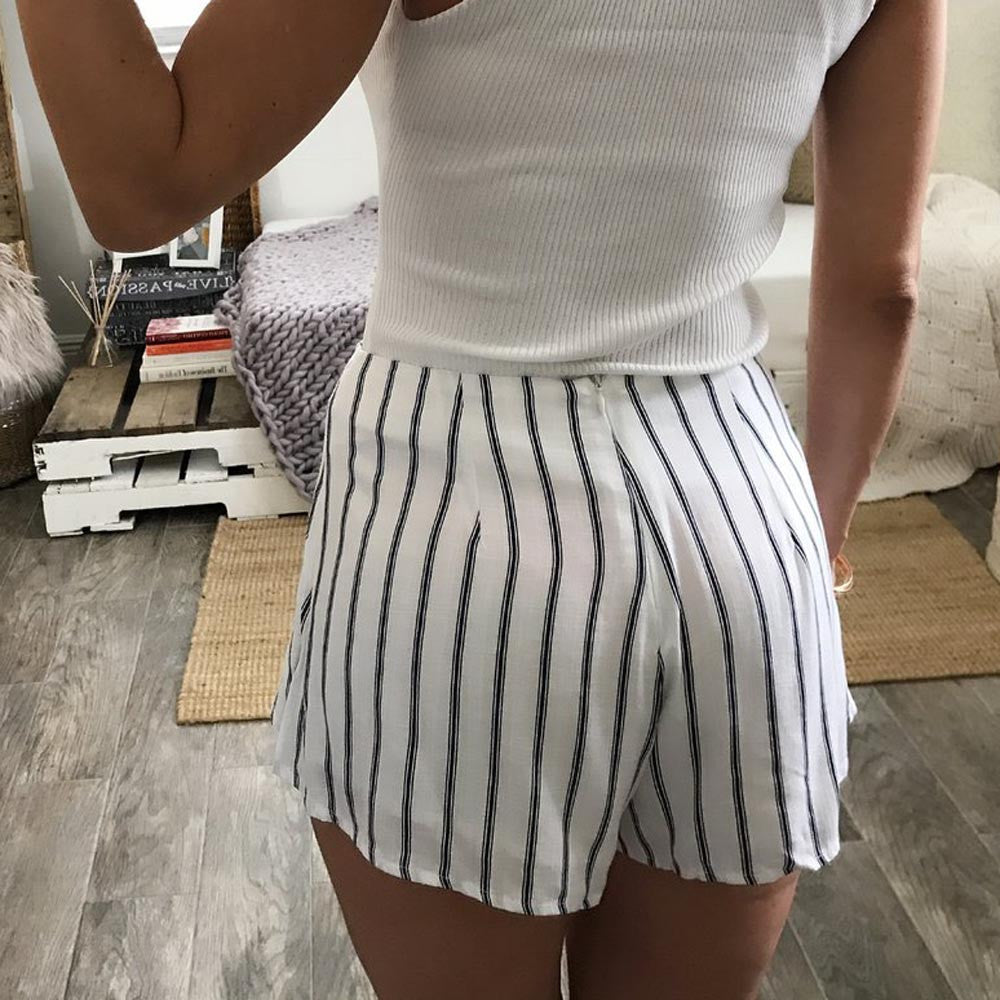 Womens Casual Front-Tie High Waist Striped Shorts