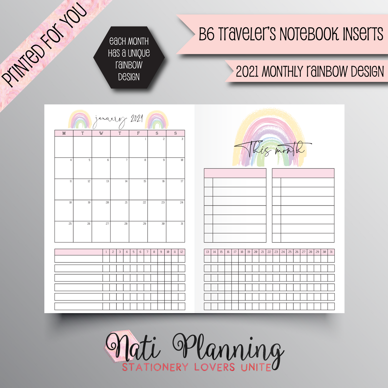 2021 MONTHLY RAINBOW DESIGN TN - B6 NO.5 SIZE INSERT