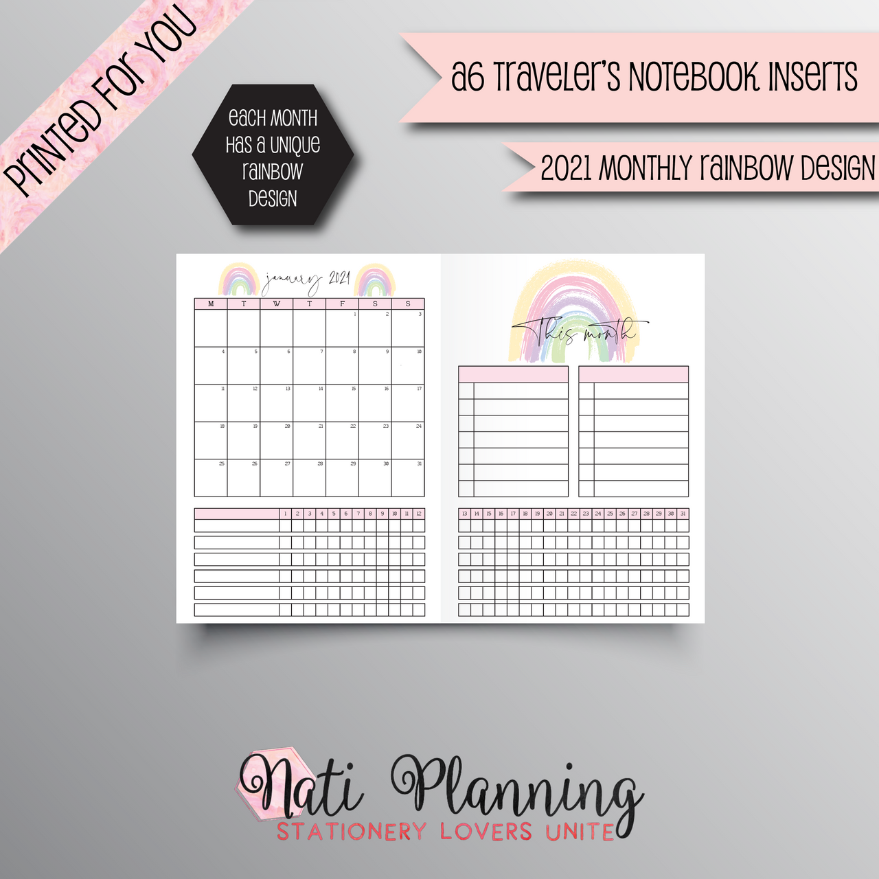 2021 MONTHLY RAINBOW DESIGN TN - A6 NO.3 SIZE INSERT