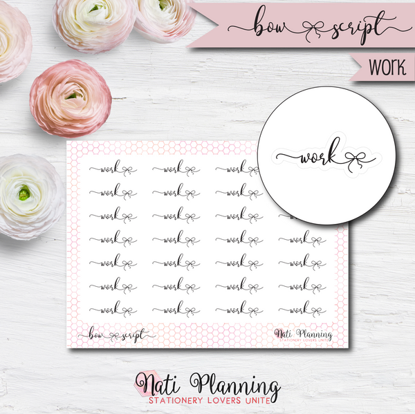 Work Bow Script Stickers