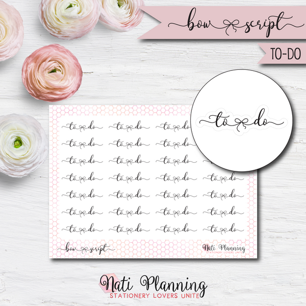 To-Do Bow Script Stickers