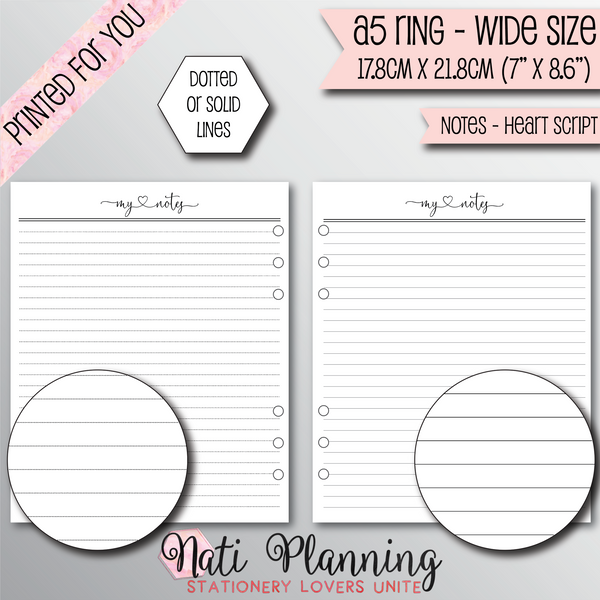 NOTES HEART SCRIPT INSERTS - A5 WIDE Size
