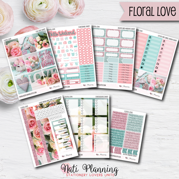 Floral Love - Weekly VERTICAL Sticker Kit