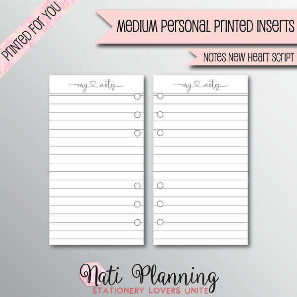 NOTES NEW HEART SCRIPT - Personal Medium Size