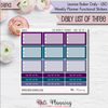 Daily List of Three LBD Stickers for Weekly Planner