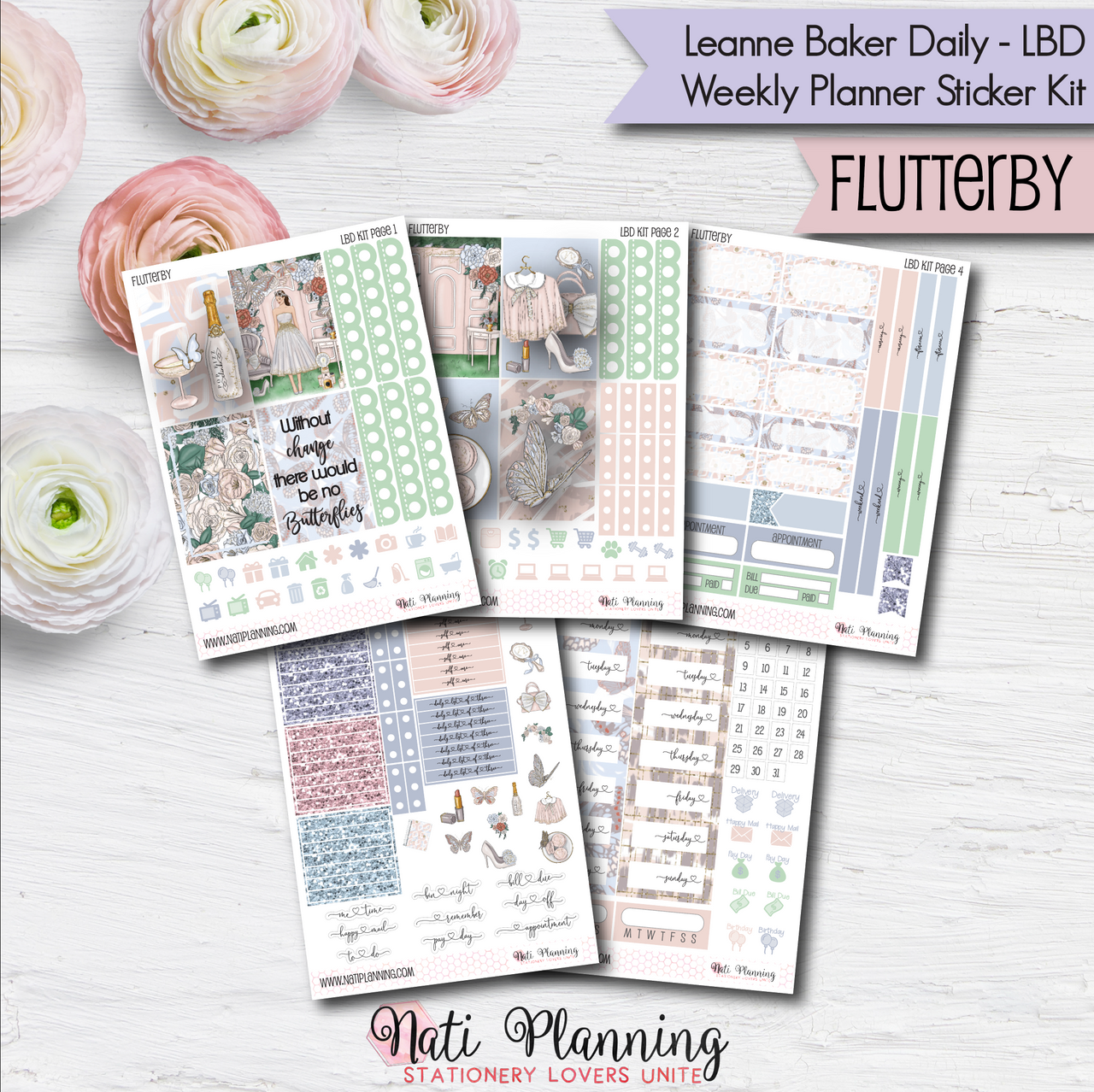 Flutterby - Weekly LBD Leanne Baker Daily Sticker Kit