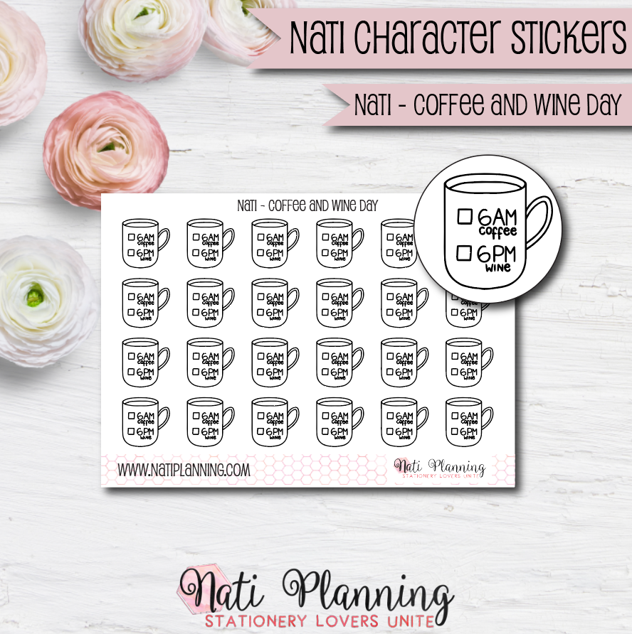 Nati - Coffee and Wine Day Stickers