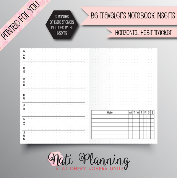 WEEKLY HORIZONTAL HABIT TRACKER - B6 NO.5 TN INSERTS