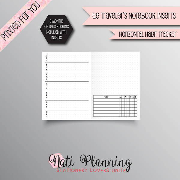 WEEKLY HORIZONTAL HABIT TRACKER TN - A6 NO.3 TN INSERTS
